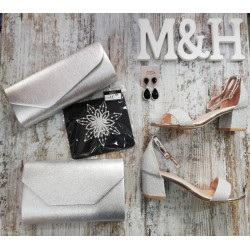 Sandalia plata con brillo